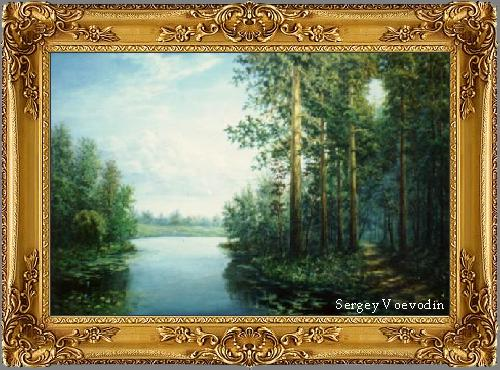 Pines near the water - painting art russia