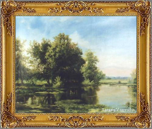 Trees at water - painting art russia